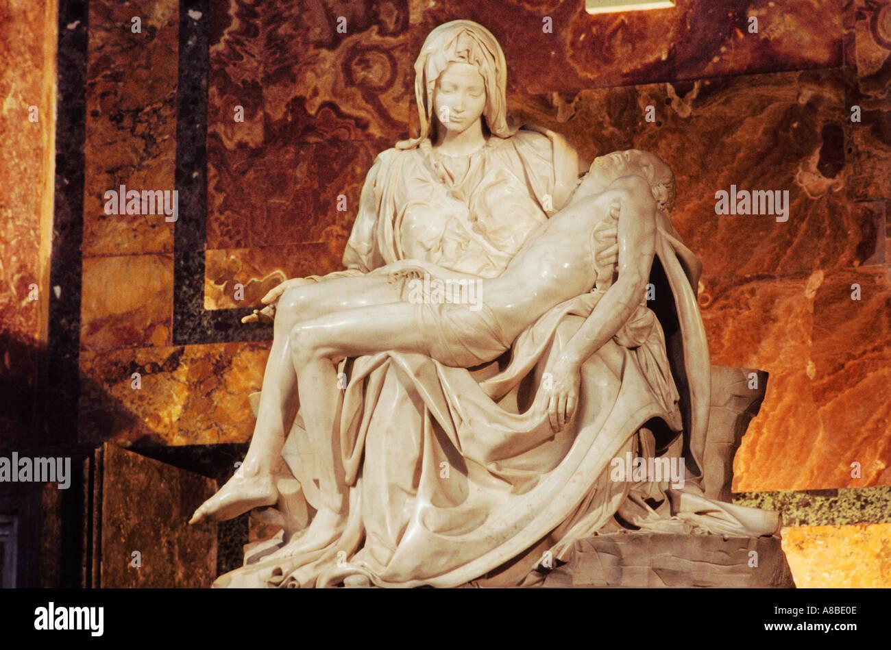 La Pieta by Michelangelo St Peter s Basilica Rome Italy - Stock Image