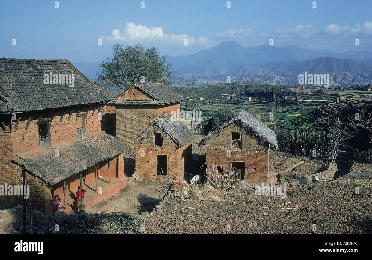 hamlet of dhulikel nepal - Stock Image