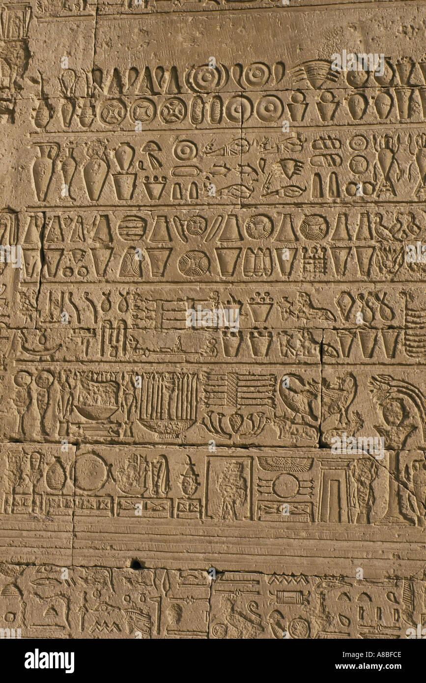 hieroglyphs hathor temple at dendera egypt - Stock Image