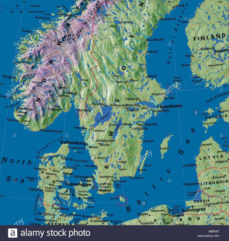 map maps Europe Denmark Sweden Norway Scandinavia Stock Photo