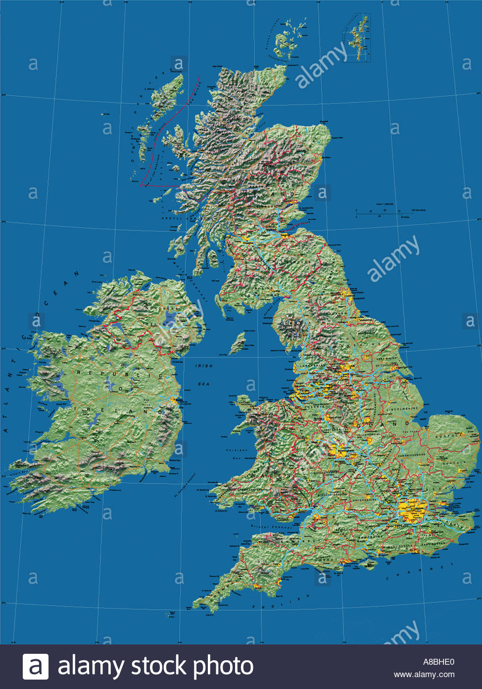 Map Of England Europe.Map Maps Europe United Kingdom England Wales Scotland Ireland Stock