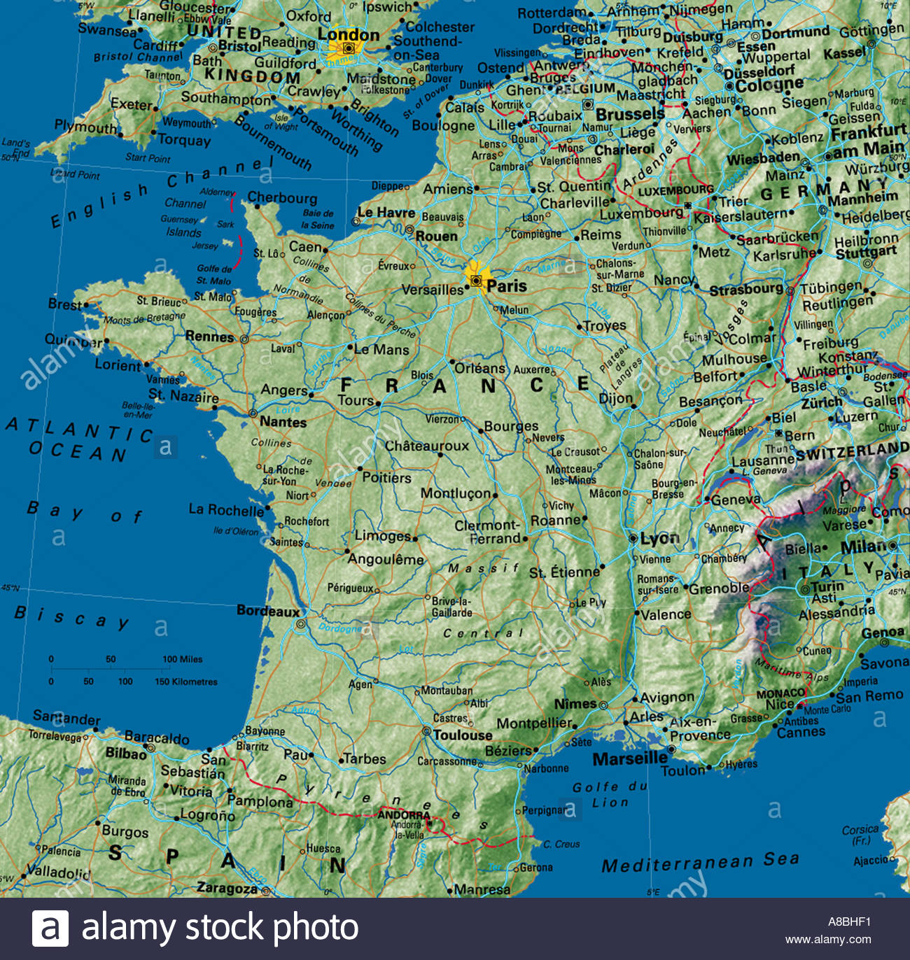 Map Of France And Europe.Map Maps Europe France Stock Photo 3933680 Alamy