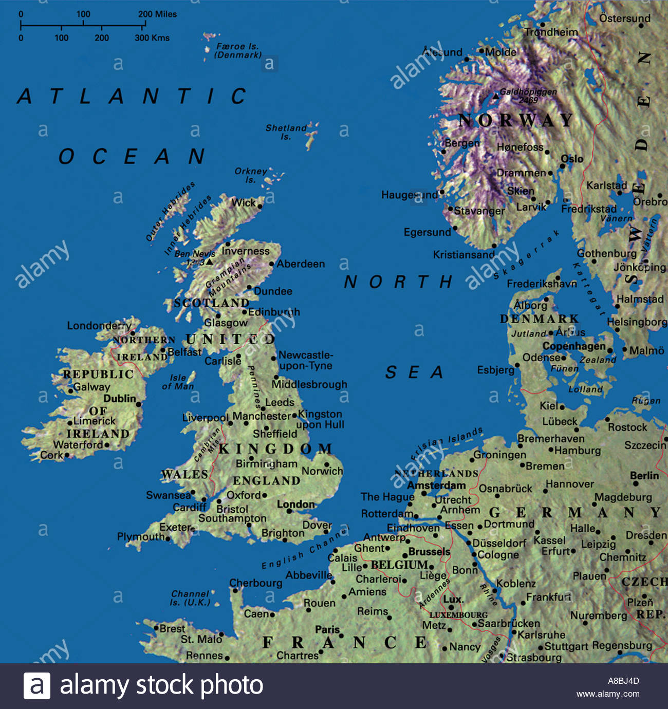 map maps united kingdom england ireland norway denmark germany netherlands belgium stock image