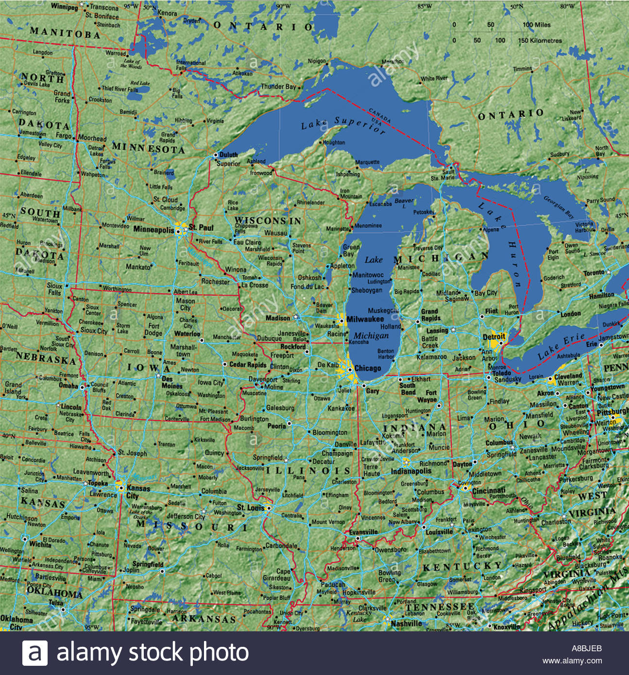 Map Of Usa Great Lakes.Great Lakes Map Stock Photos Great Lakes Map Stock Images Alamy