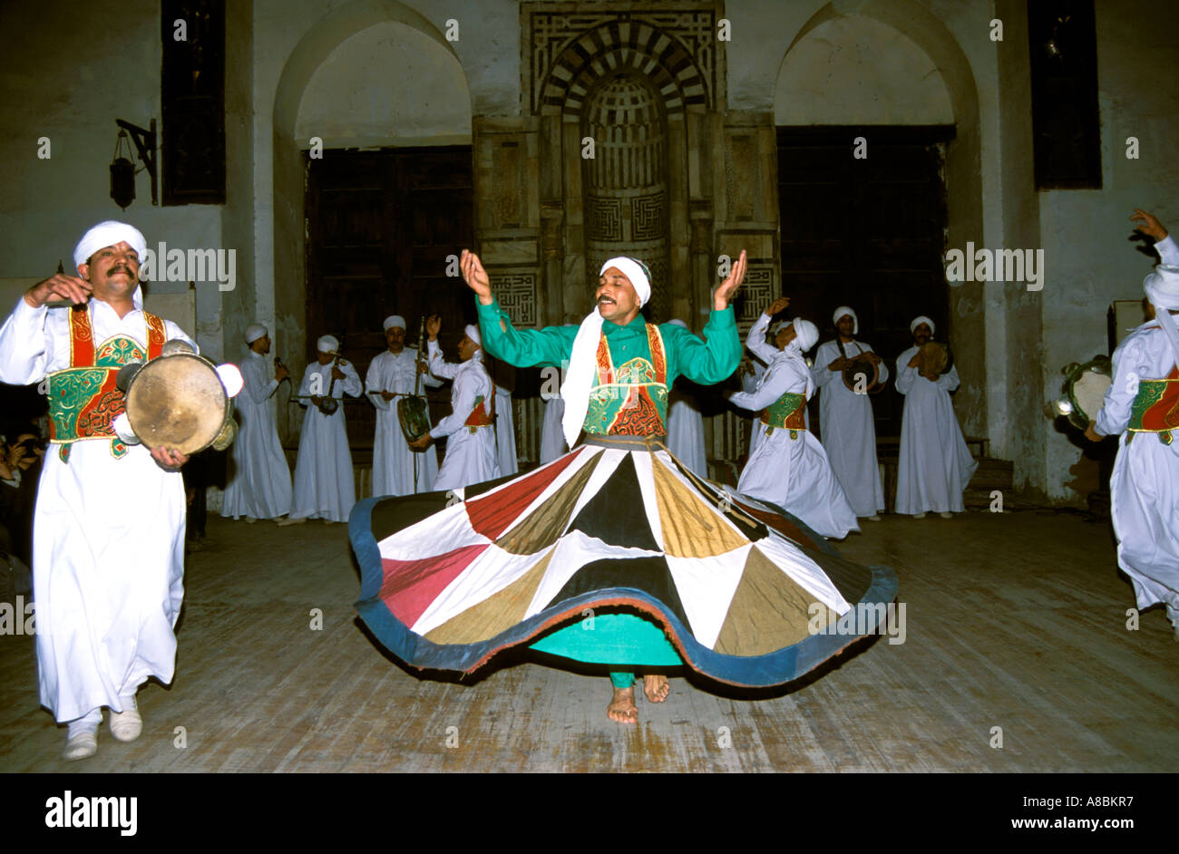 Egypt Cairo Whirling dervish dancers - Stock Image