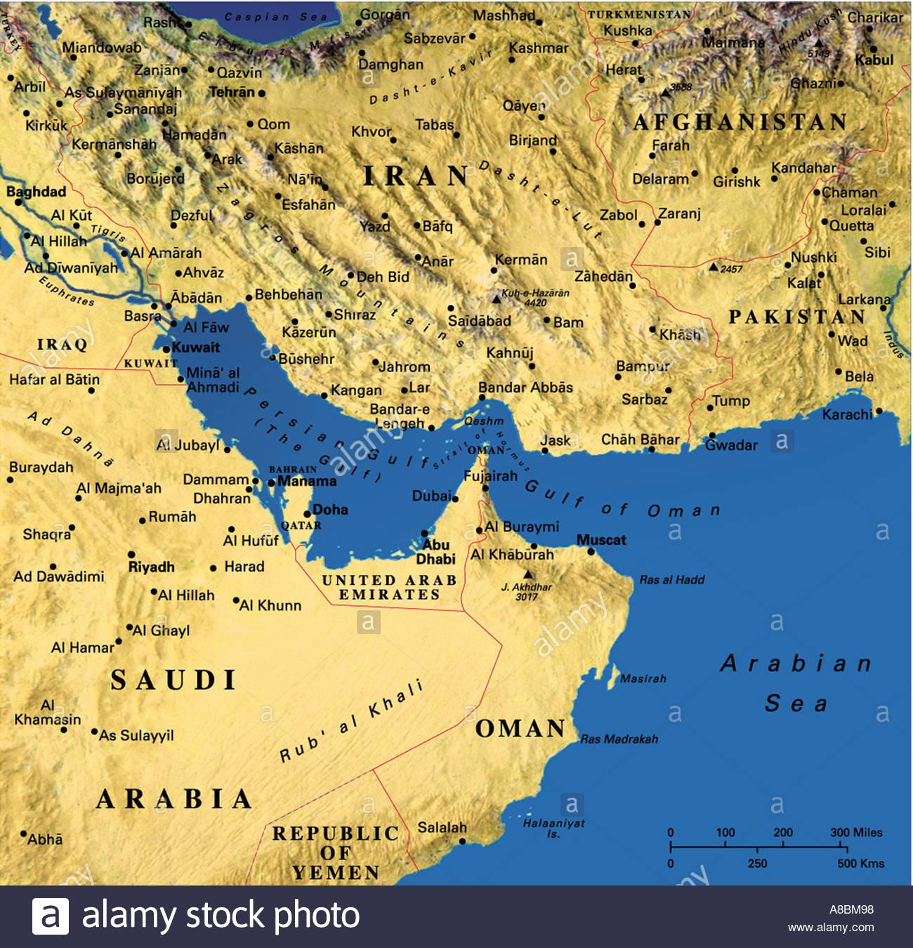 map maps Asia Saudia Arabia Iran - Stock Image