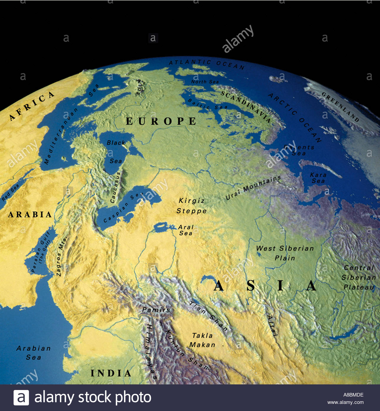 globe map maps Middle East Asia Stock Photo: 3934429 - Alamy