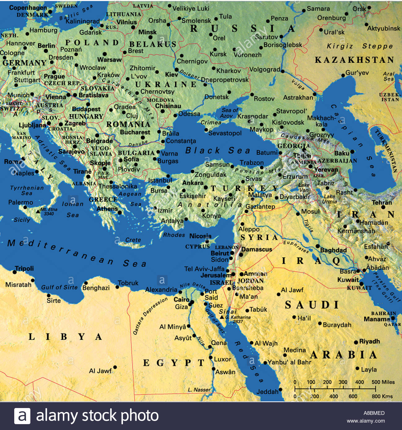map maps Europe Middle East Saudi Arabia Stock Photo: 3934444 - Alamy