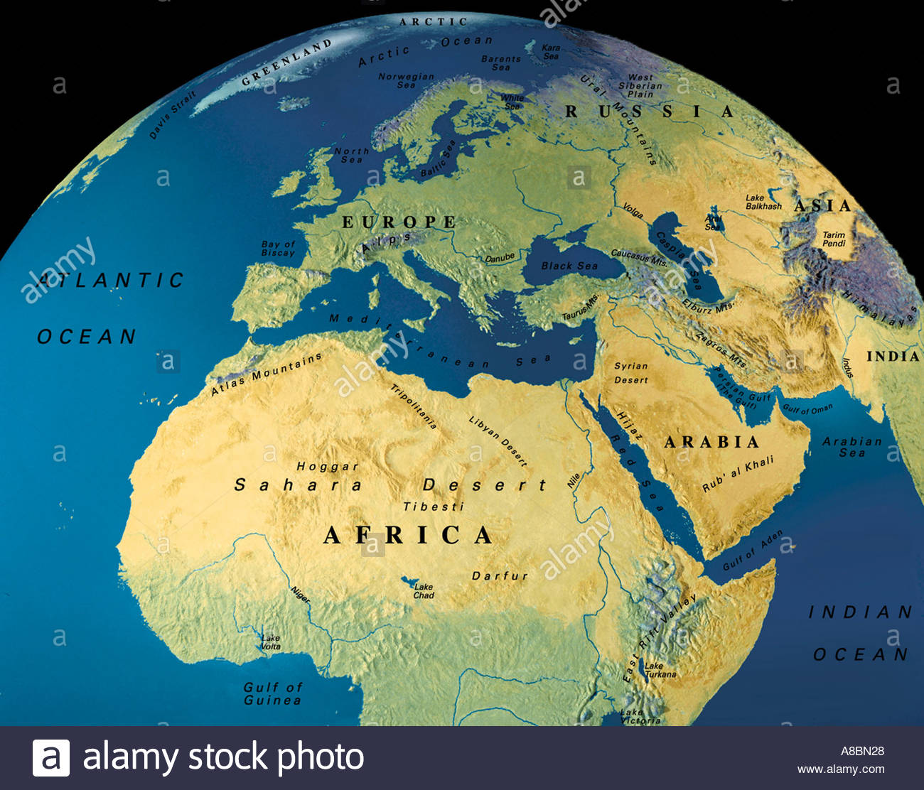 globe map maps Africa Middle East Europe Stock Photo: 3934503 - Alamy