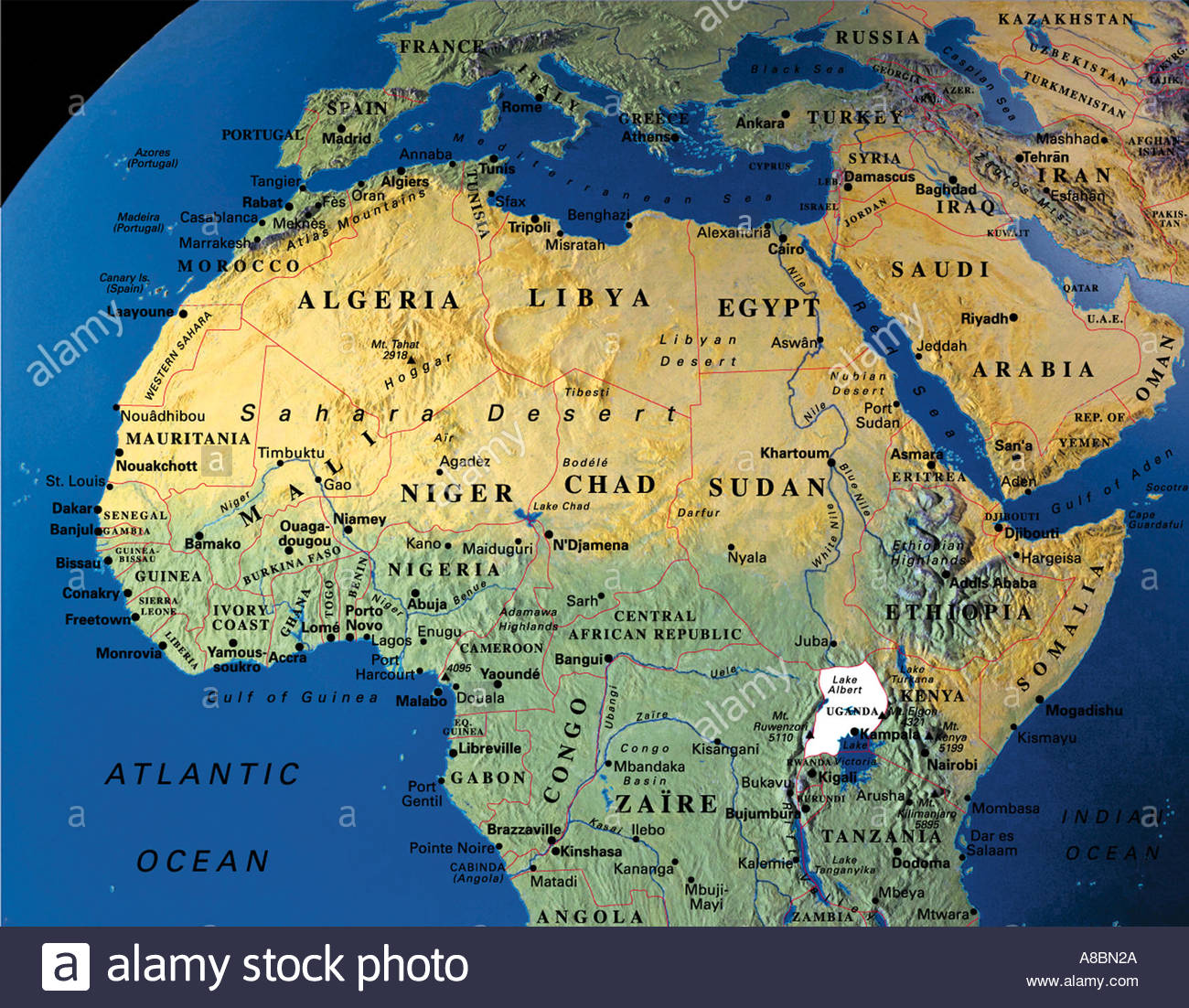 globe map maps Africa Middle East Stock Photo: 3934505 - Alamy