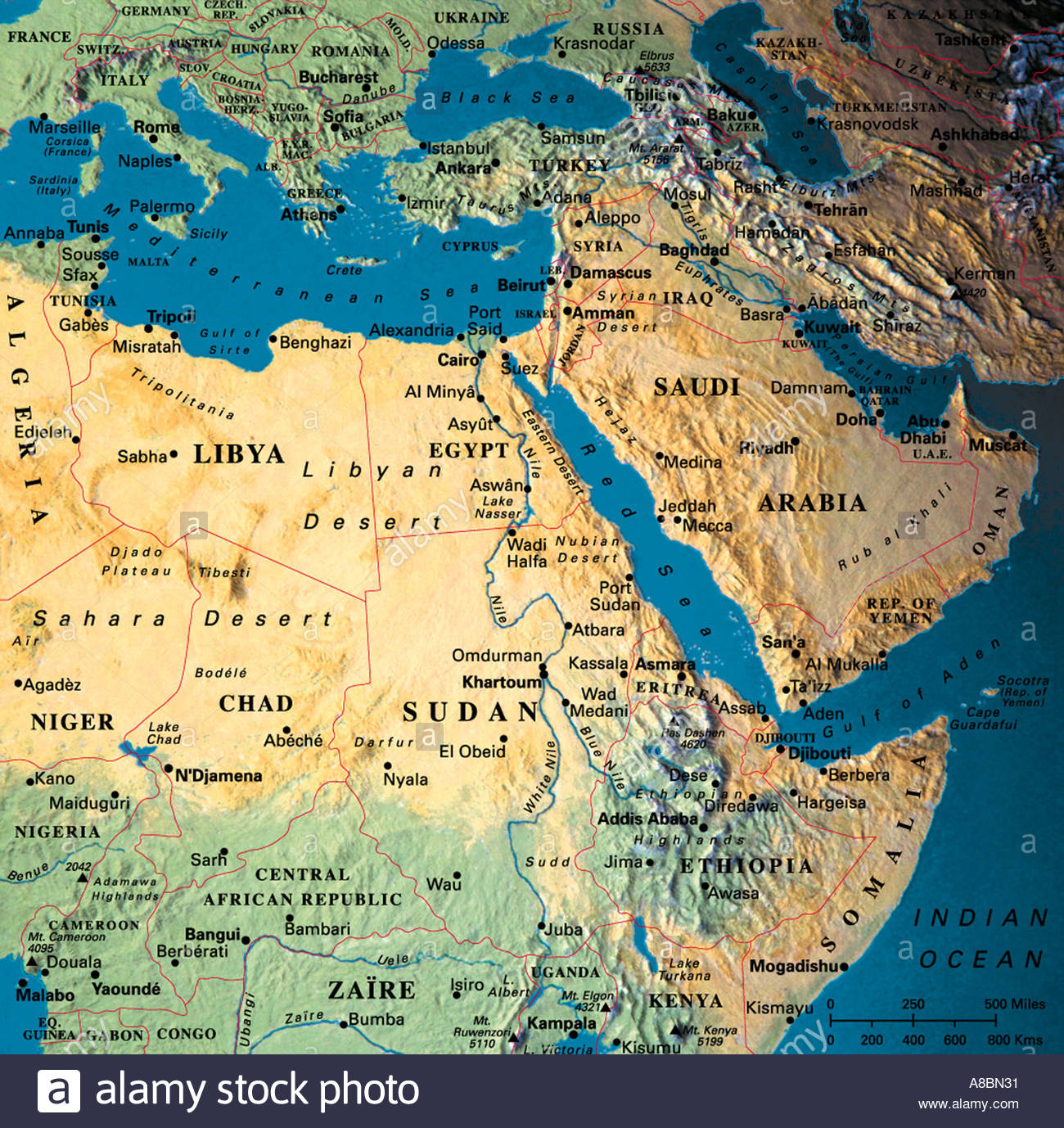 globe map maps Africa Middle East Saudi Arabia Stock Photo