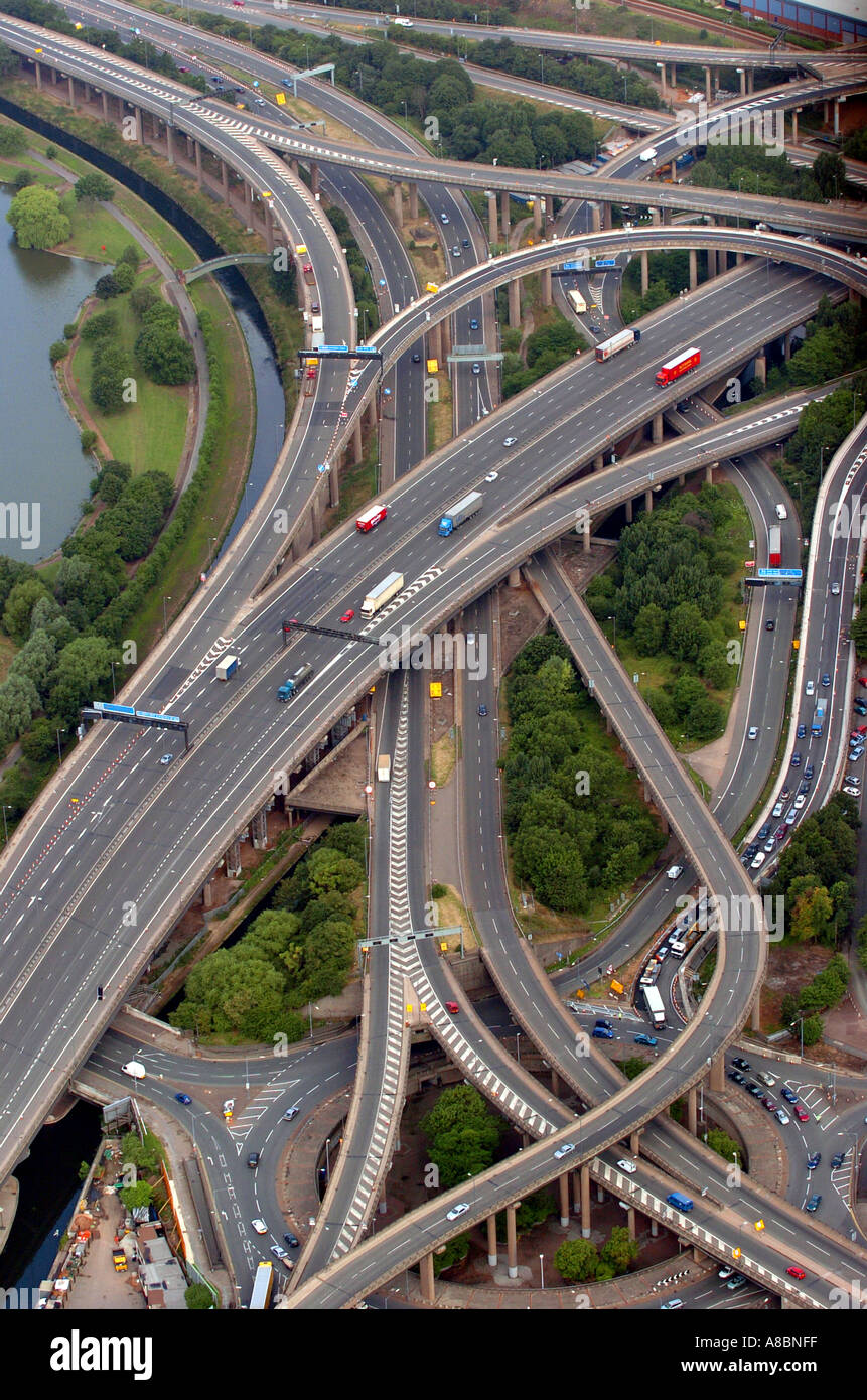 Spaghetti Junction M6 Junction 6 The notoriously confusing road scheme - Stock Image