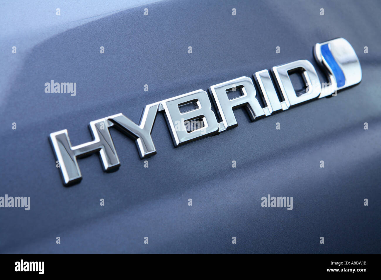 Badge on a 2006 Toyota Highlander Hybrid SUV - Stock Image