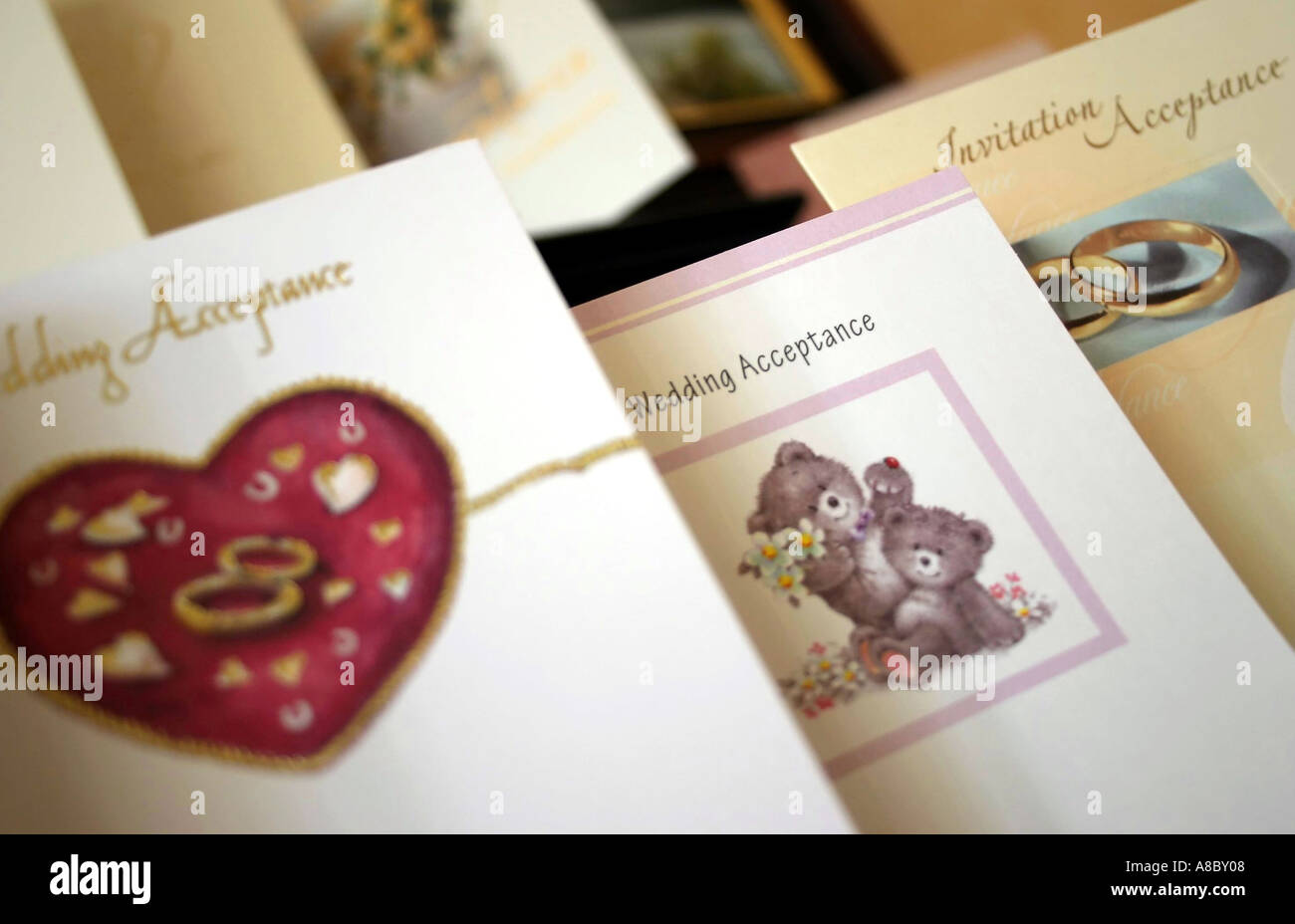 Wedding Acceptance cards on display Stock Photo: 3936007 - Alamy