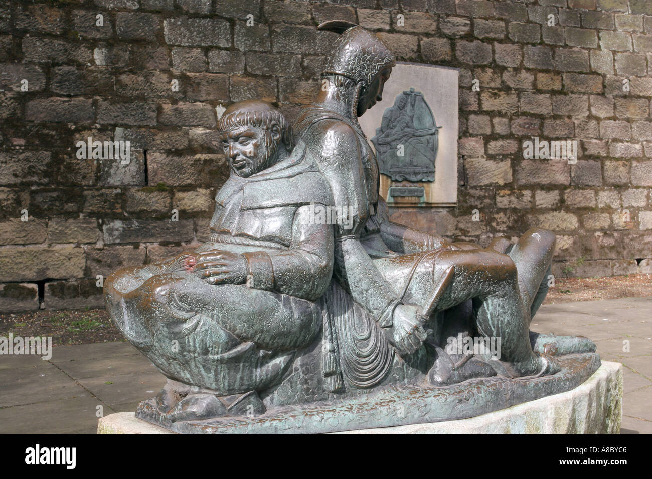 Friar Tuck Statue Nottingham - statue below Nottingham Castle - Stock Image