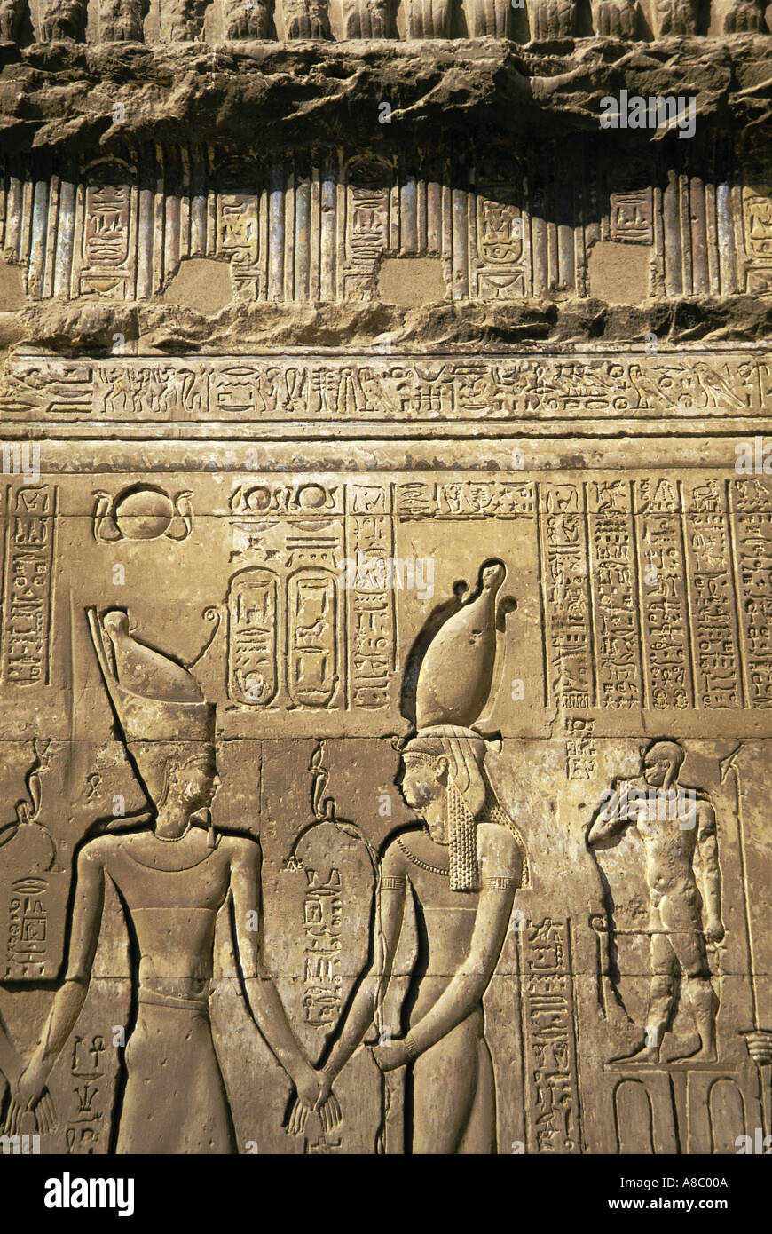 hieroglyphs khnum temple at isna egypt - Stock Image