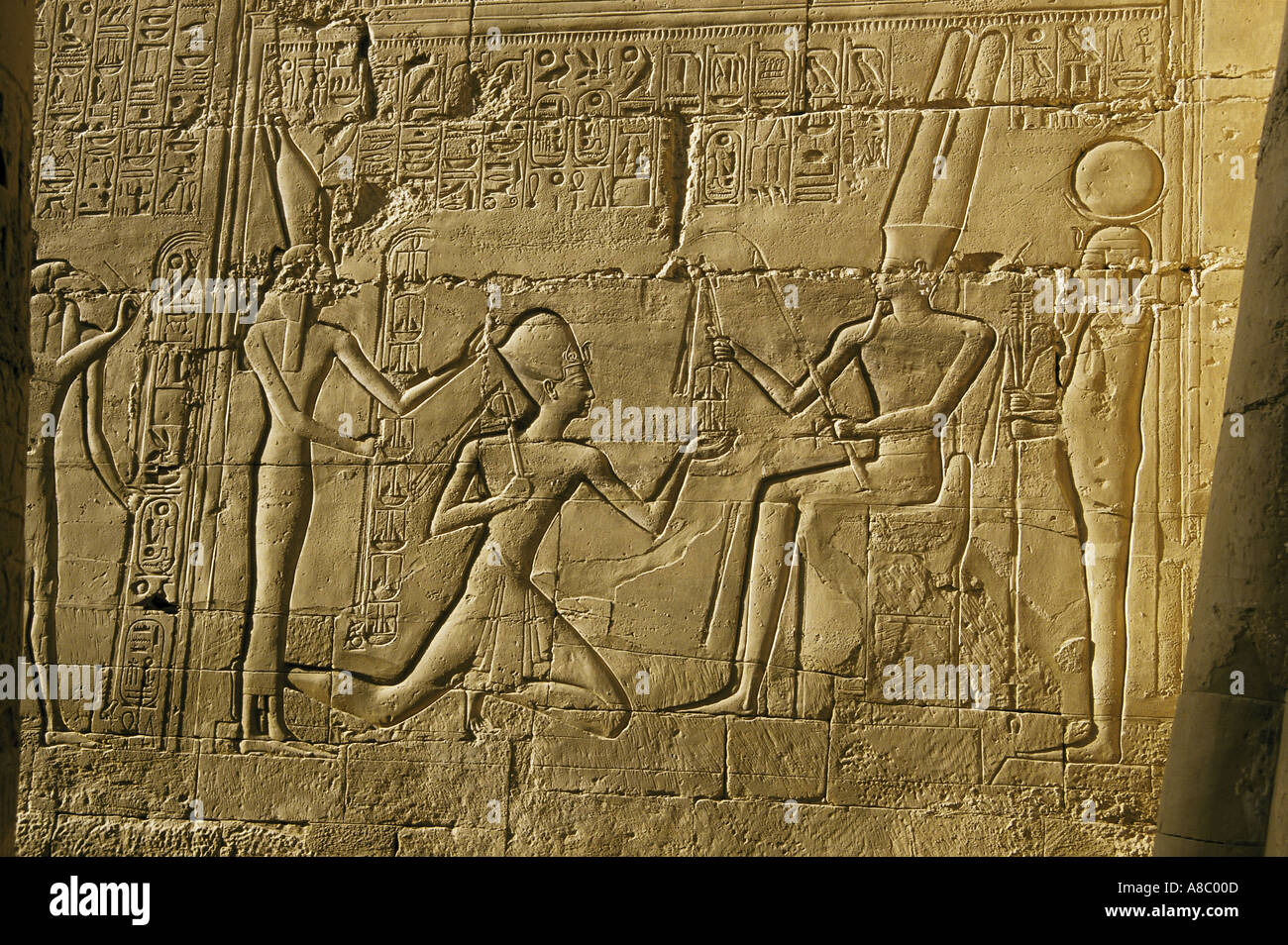 hieroglyphs amun temple at karnak egypt - Stock Image