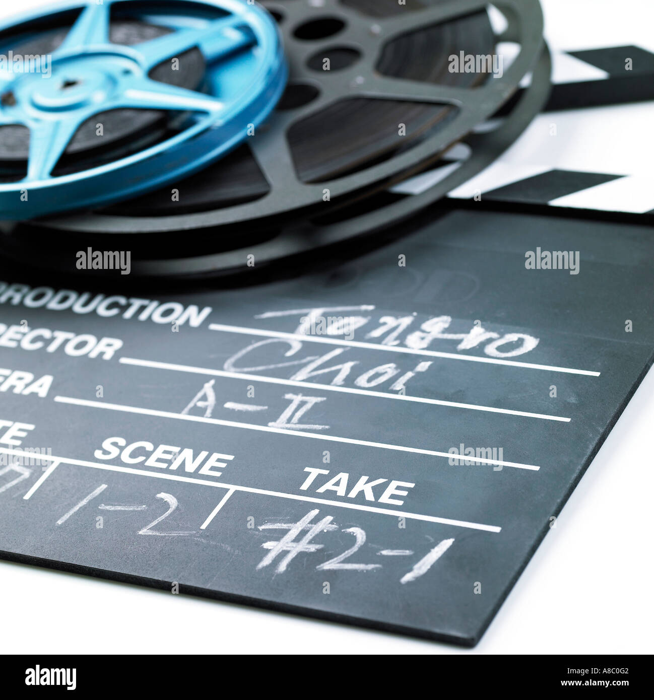 Image movie films and clapper board - Stock Image