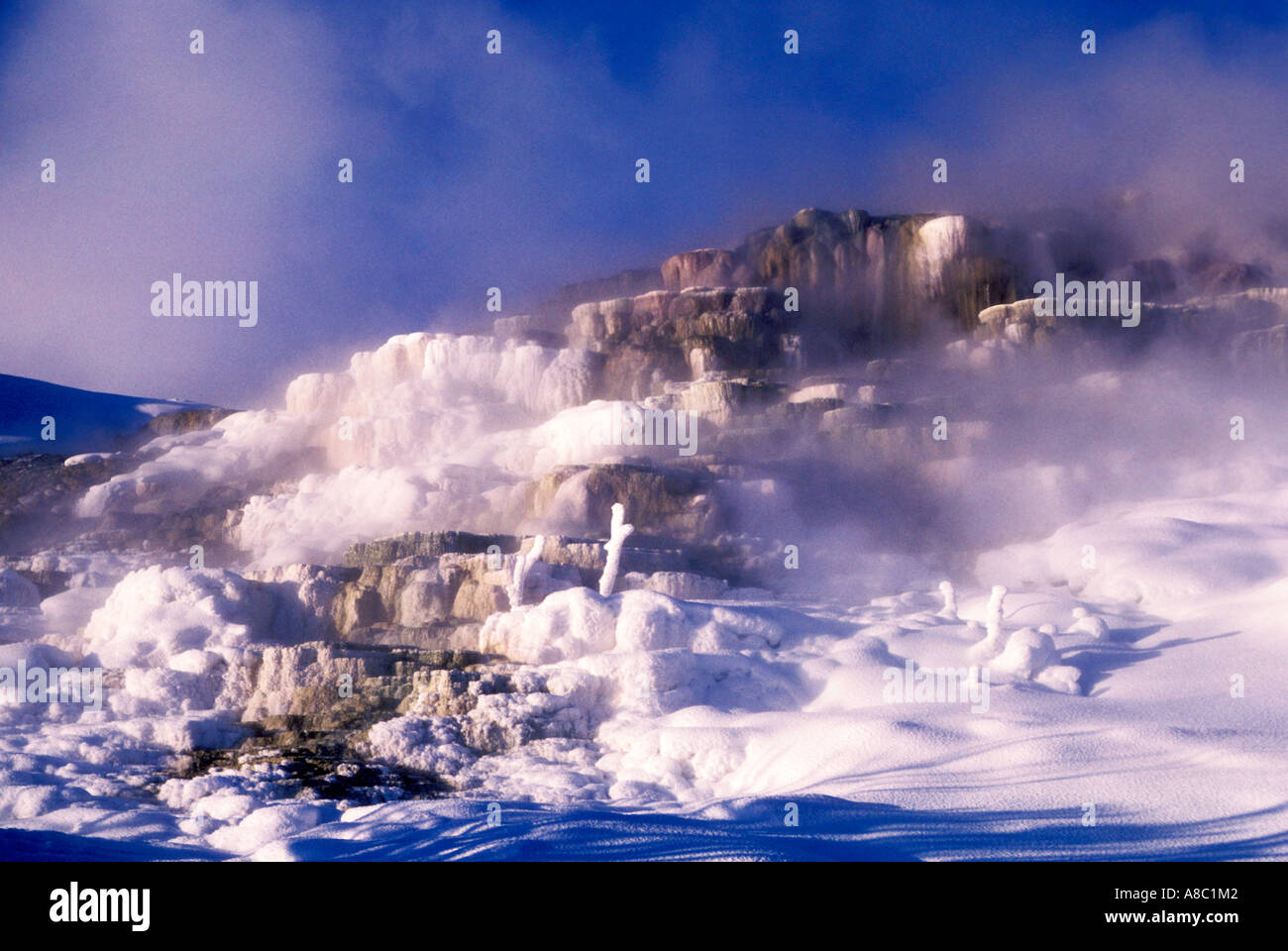 Wyoming Yellowstone National Park Mammoth Hot Springs terracs in winter - Stock Image