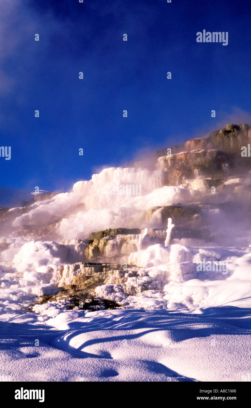 Wyoming Yellowstone National Park Mammoth Hot Springs terrace in winter - Stock Image