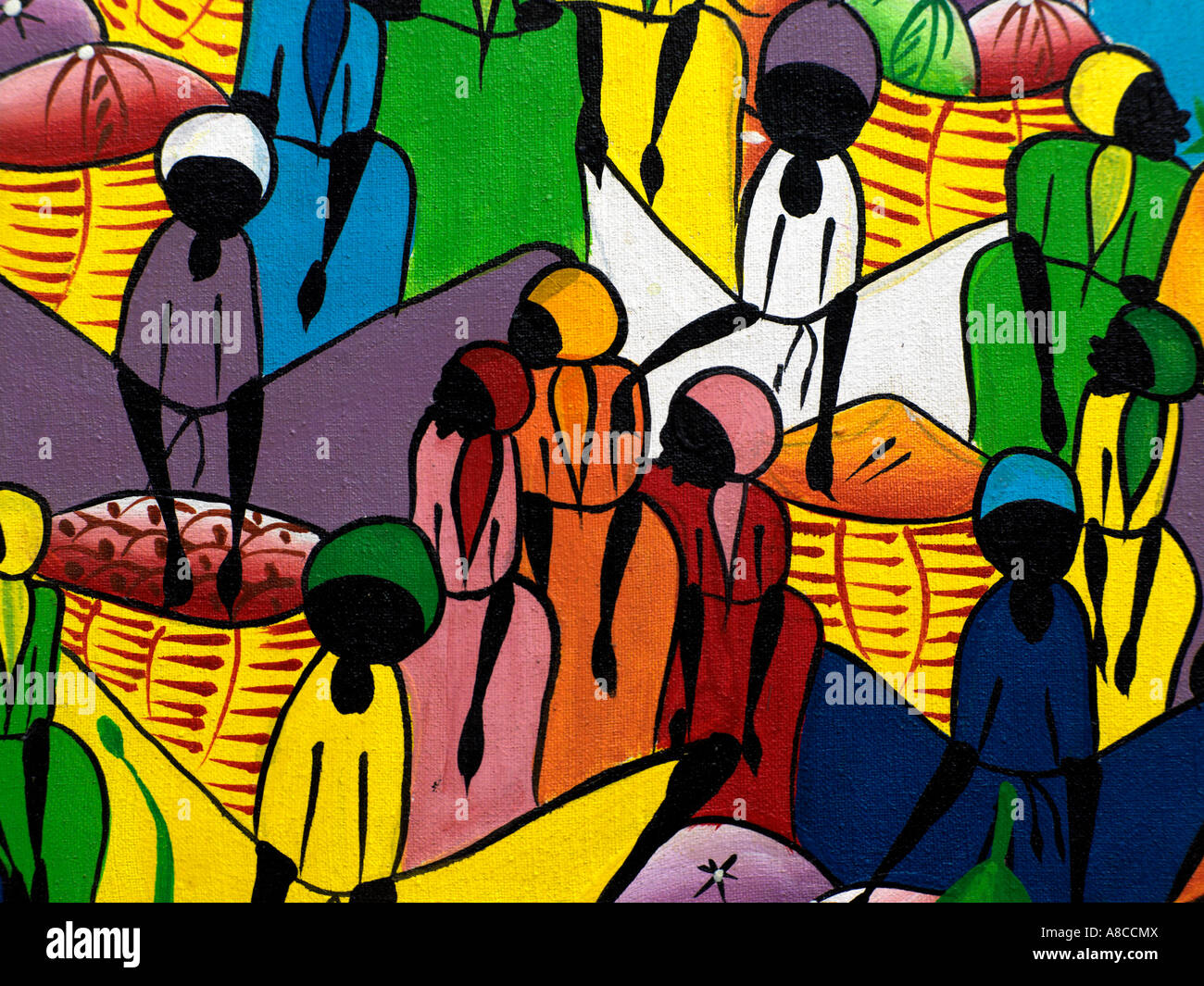 Faceless People Voodoo Colourful Painting - Haitian - Stock Image