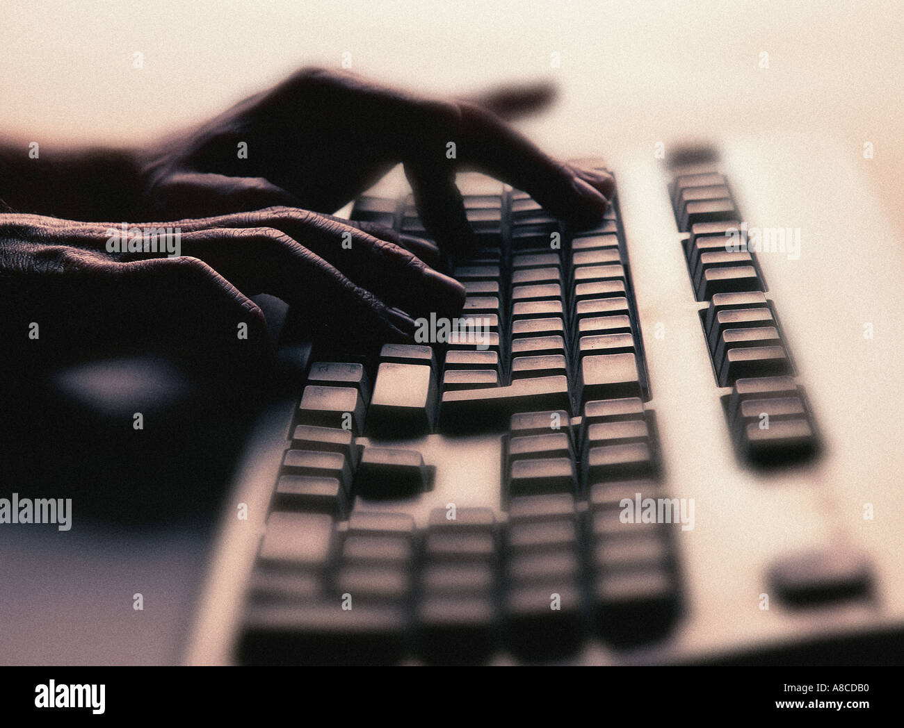 HANDS TYPING ON COMPUTER KEYBOARD - Stock Image