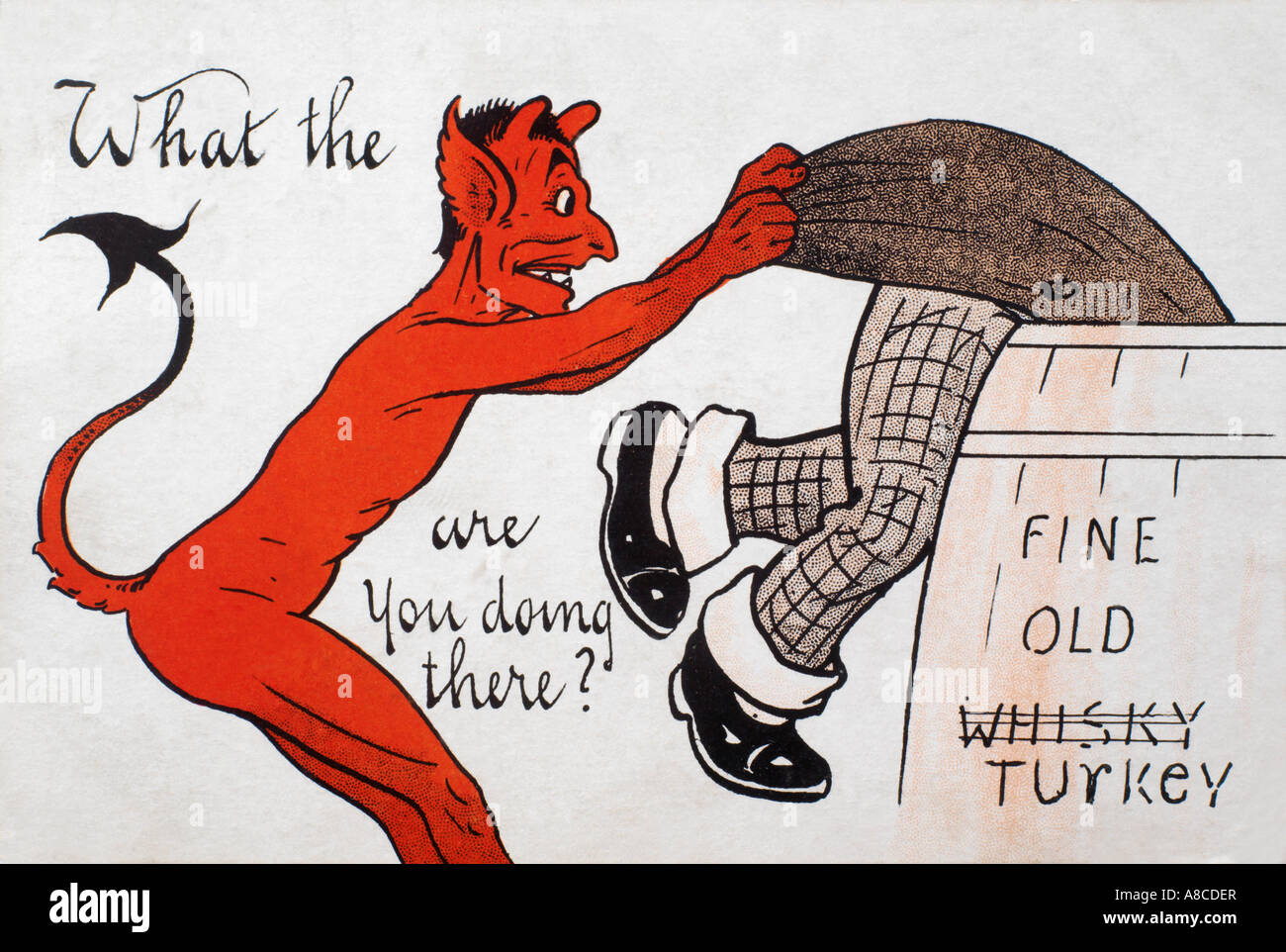 Red Devil Victorian Postcard - What The Devil are you doing there? Posted in 1906 - National Series 307 - Stock Image