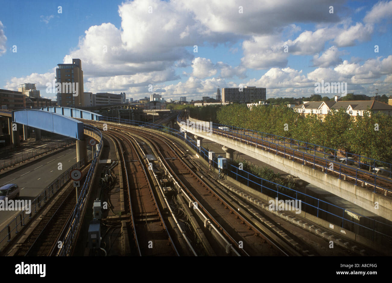 View of city and railway lines crossing the A13 from  footbridge at Poplar station  Tower Hamlets, East London. - Stock Image