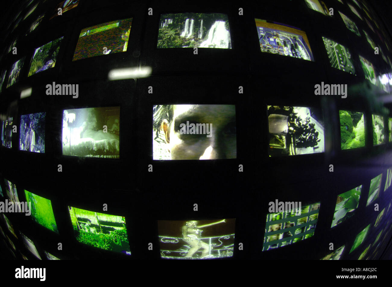 mass media slideshow transparencies art arty graphic, surveillance, haunting, negative, sinister, big brother is watching you - Stock Image
