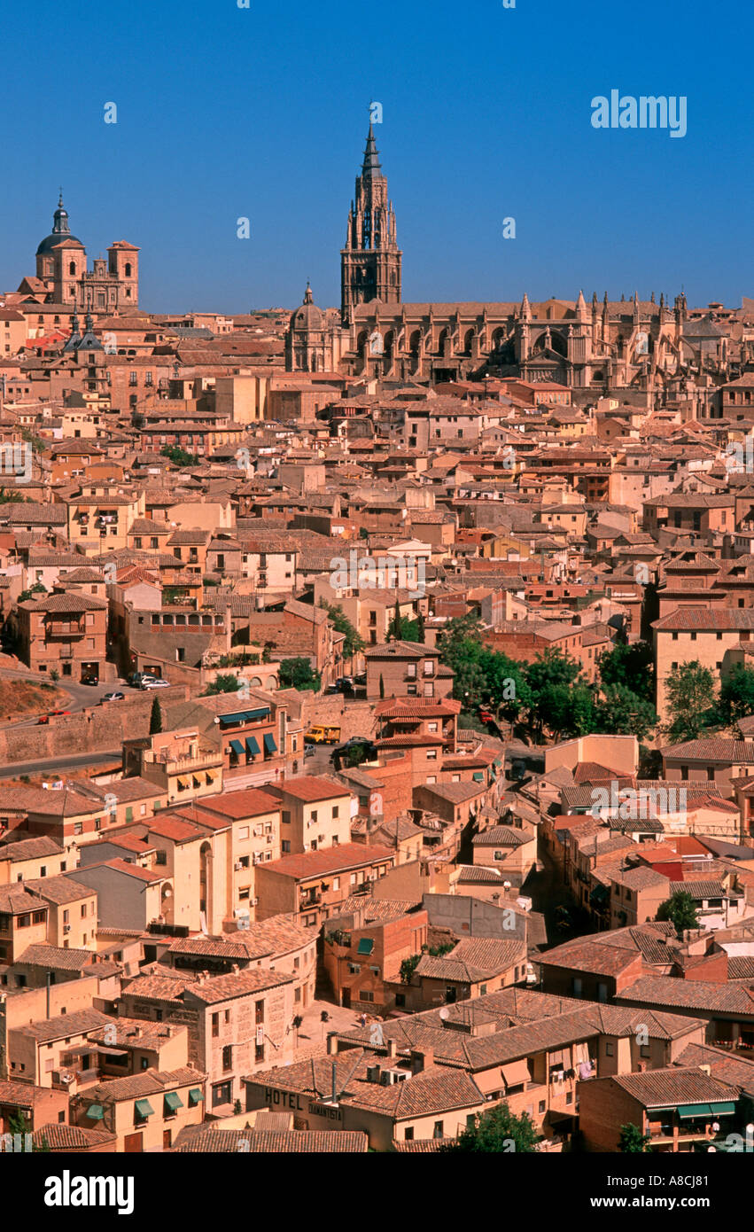 View of Worldheritage town Toledo from the Ronda del Toldeo Toledo Castilla La Mancha Spain Europe - Stock Image