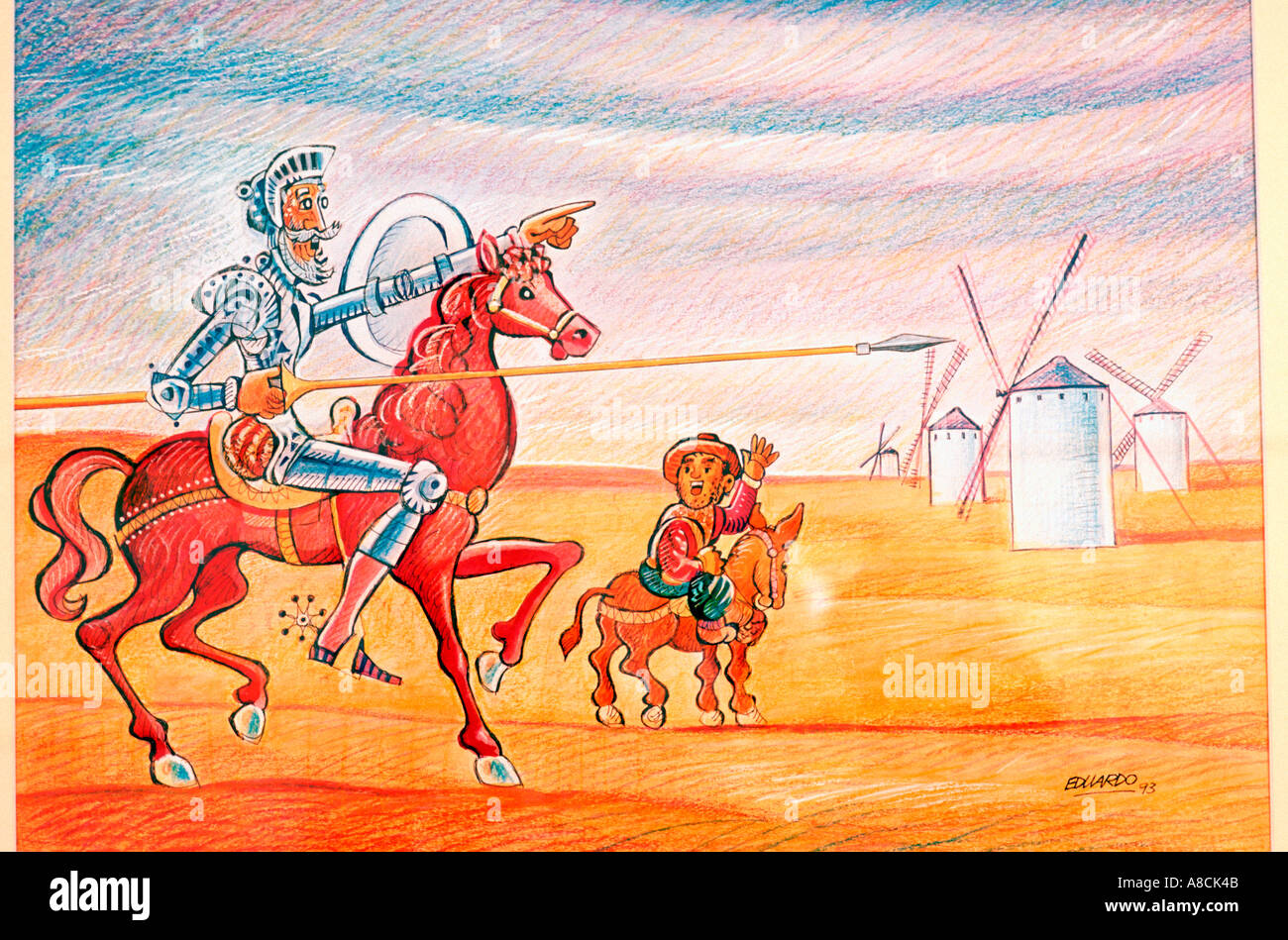 Painting of Don Quixote and Sancho Panza Museum of Grafic Humor El Toboso La Mancha Spain Europe Stock Photo
