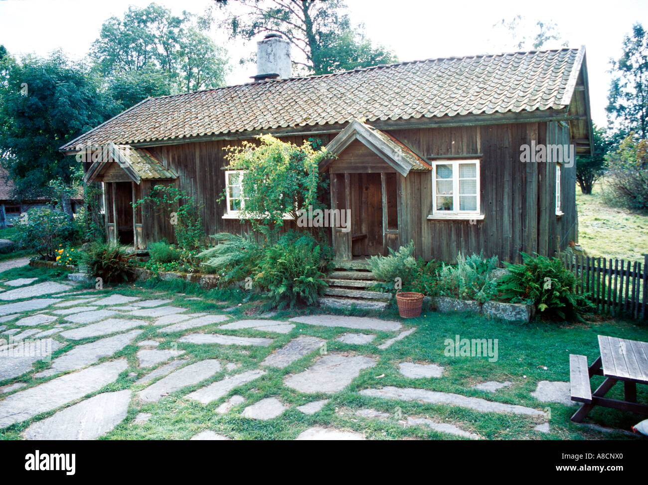 Swedish countryside style house from 18th century. - Stock Image
