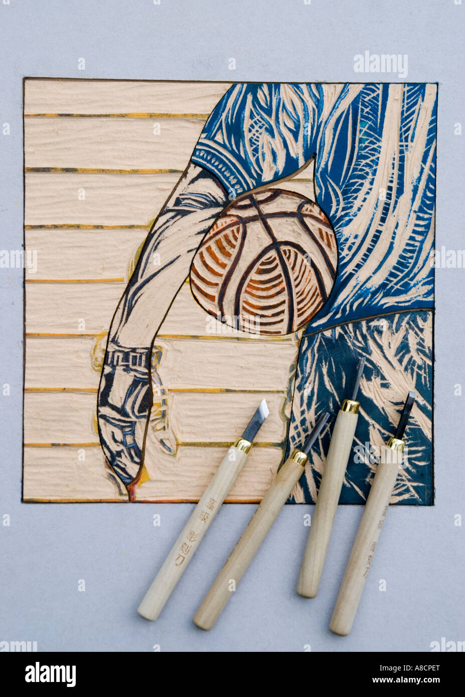 A woodcut block by artist Sulyn Lam - Stock Image