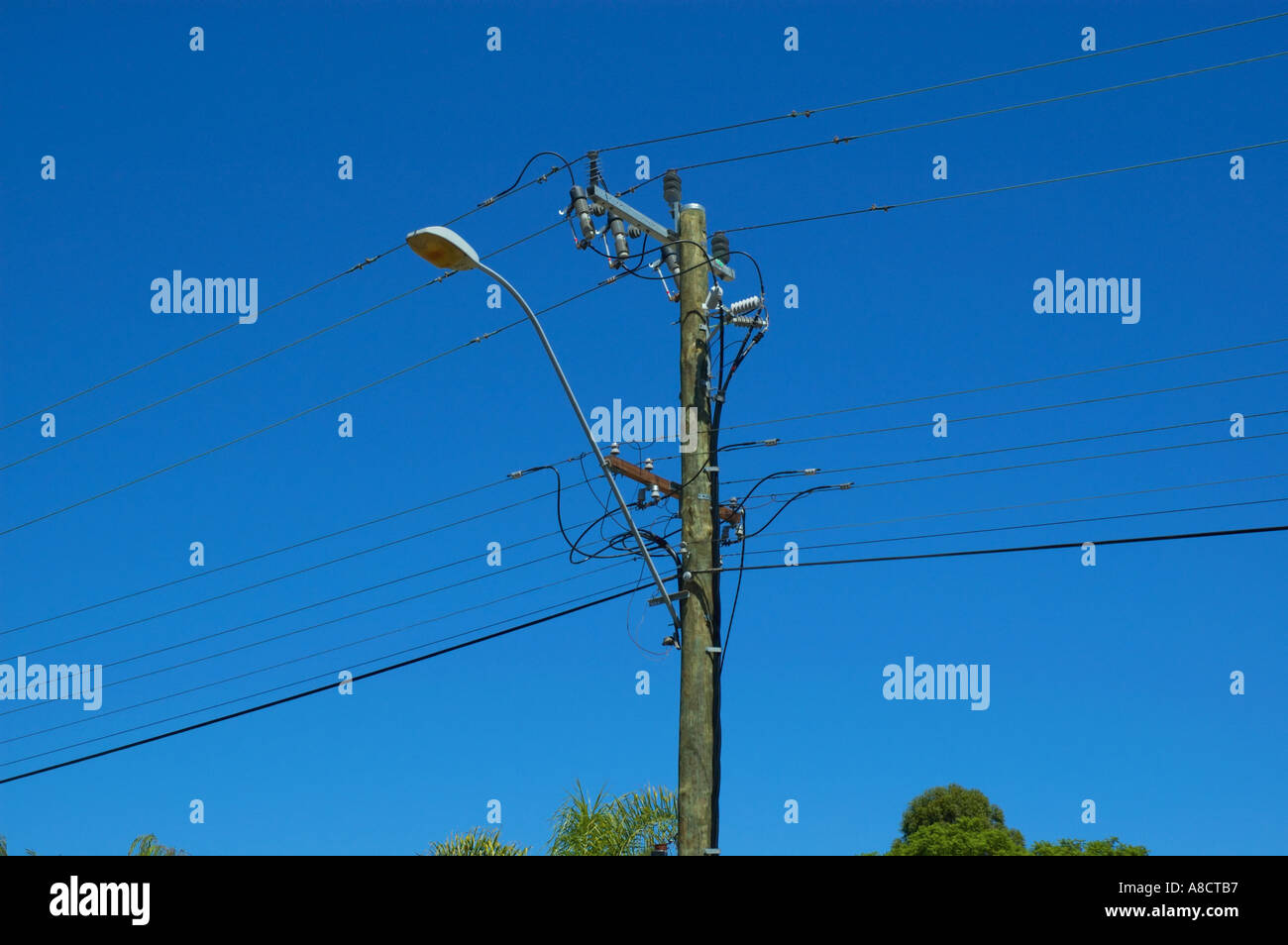 Western australia perth wooden street lamp post with power supply western australia perth wooden street lamp post with power supply lines mozeypictures Images