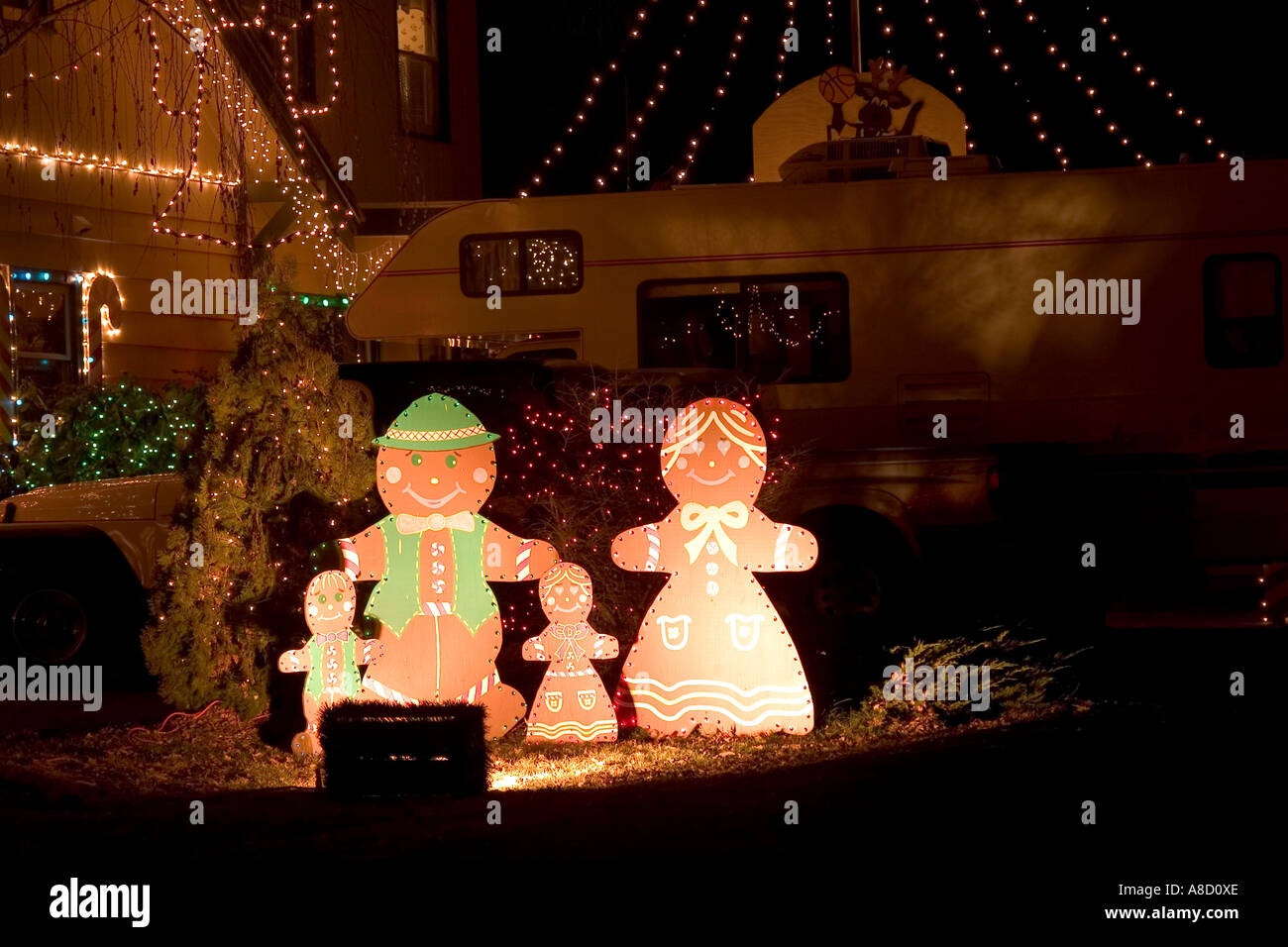 gingerbread family outdoor christmas decoration stock image
