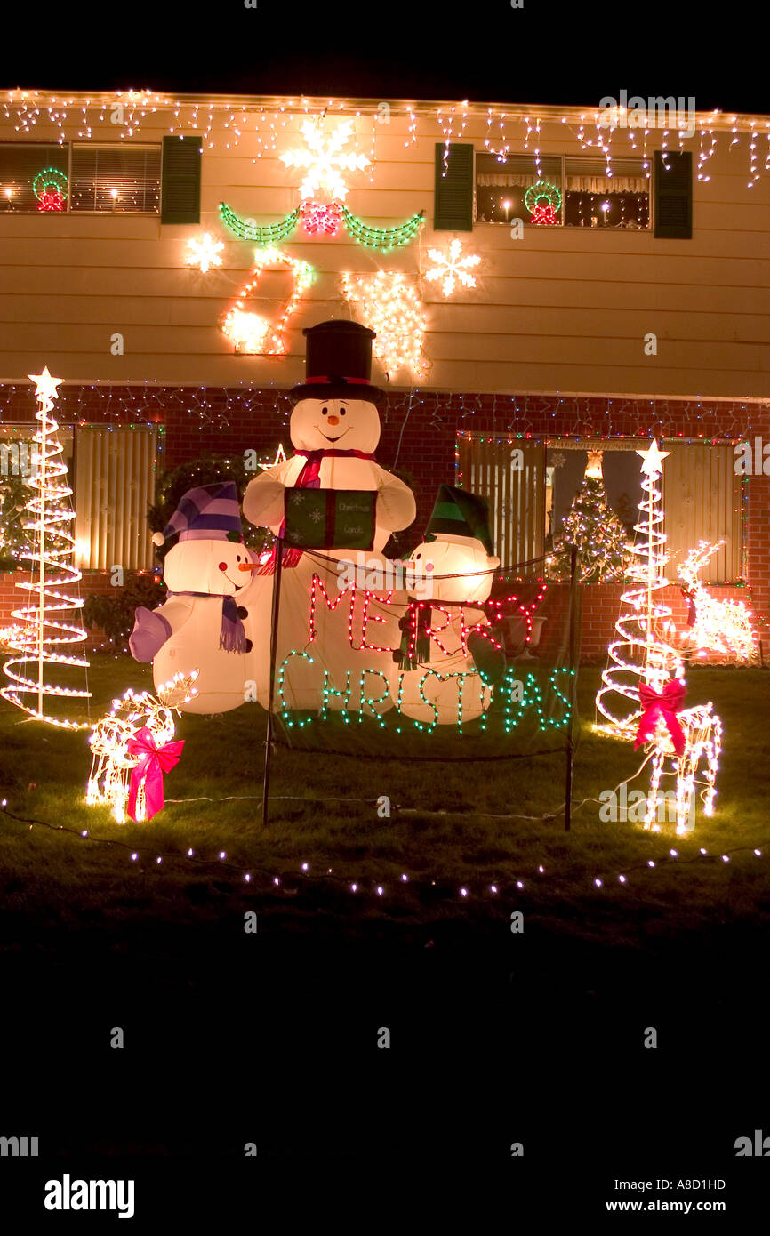 Lighted Snowman Outdoor Christmas Decorations Stock Photo: 6894044