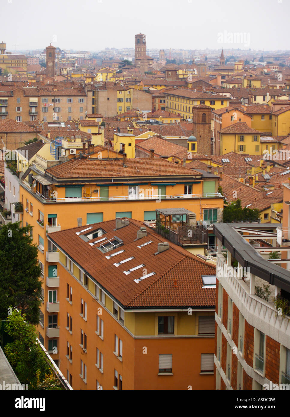 View of the skyline and rooftops. Bologna Emilia Romagna Italy - Stock Image