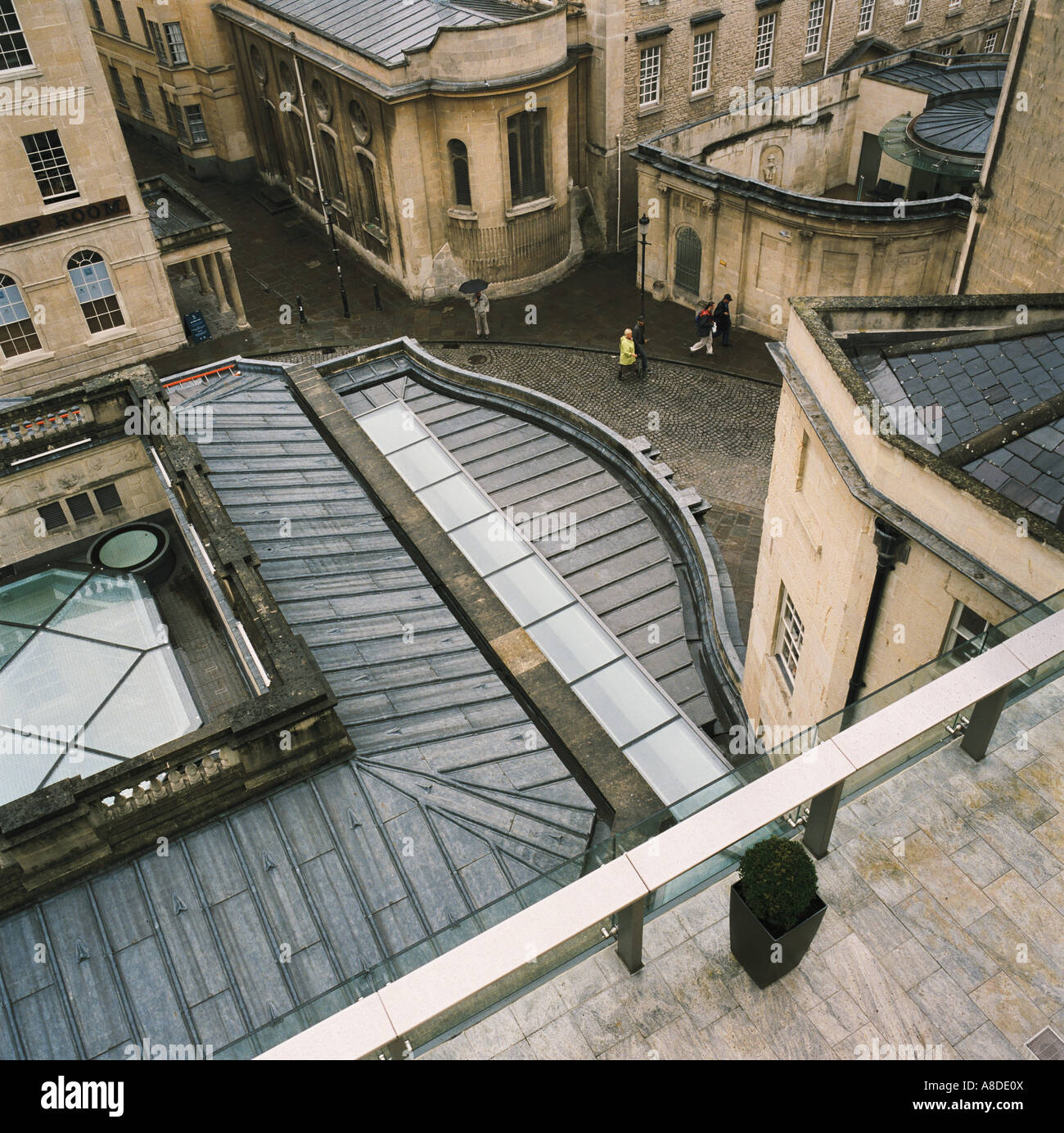 Rooftop view from the Thermae Bath Spa to the street below and the ...
