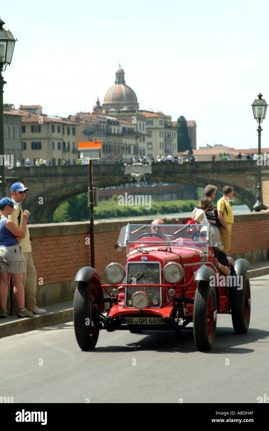 The Mille Miglia 2005 race passing through Florence Tuscany Italy EU.An Italian made OM Superba car. - Stock Image