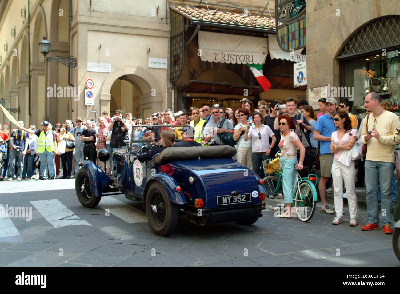The Mille Miglia 2005 race passing through Florence Tuscany Italy EU - Stock Image