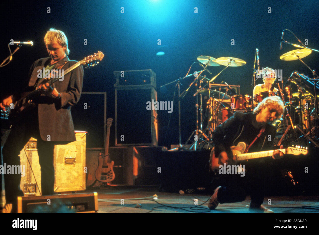 POLICE - UK group with from left Sting, Andy Summers and Stuart Copeland on drums - Stock Image