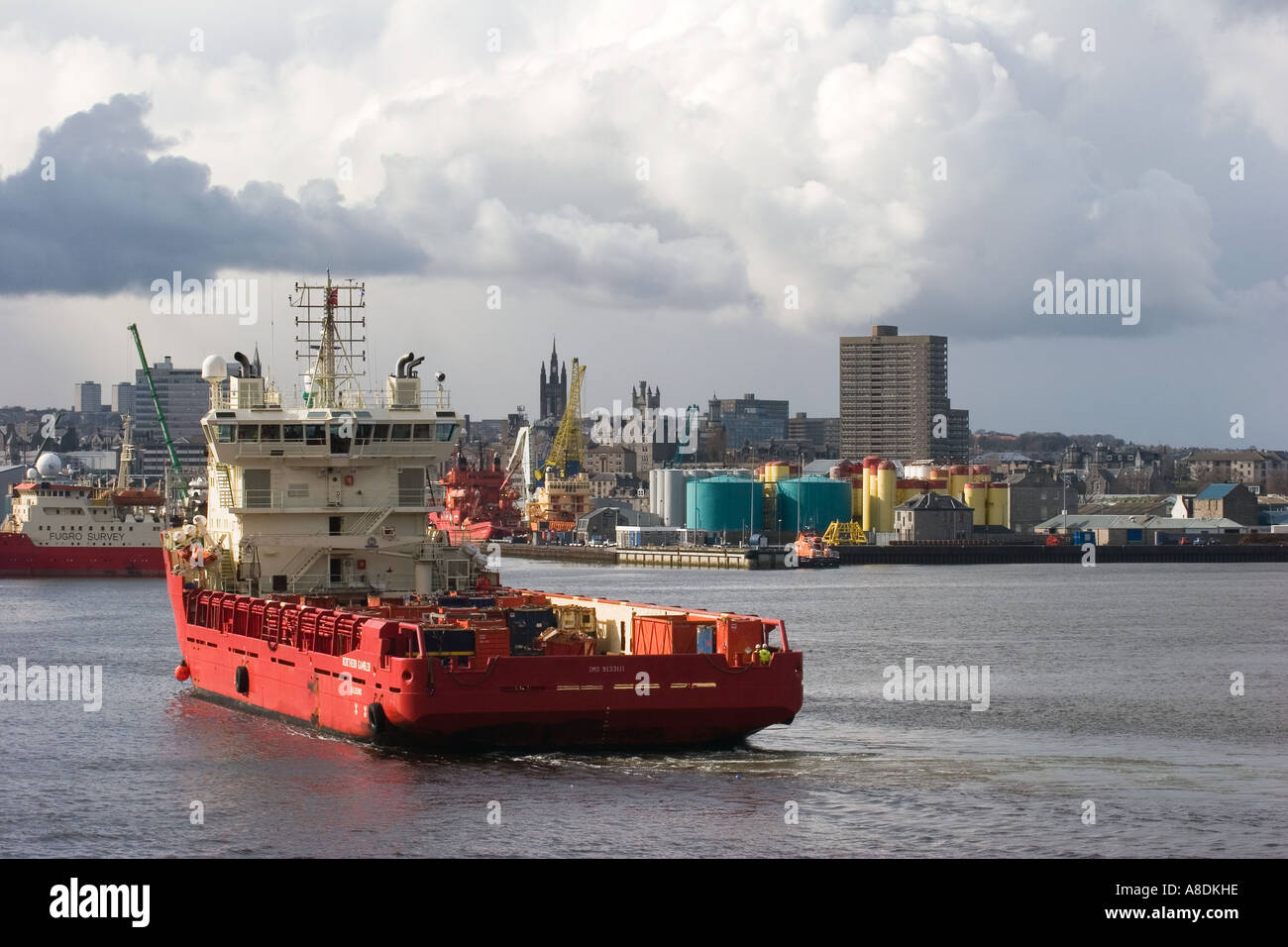 Unusual Cloud formation at Aberdeen Harbour with the City Centre Beyond, Aberdeenshire, Scotland uk - Stock Image