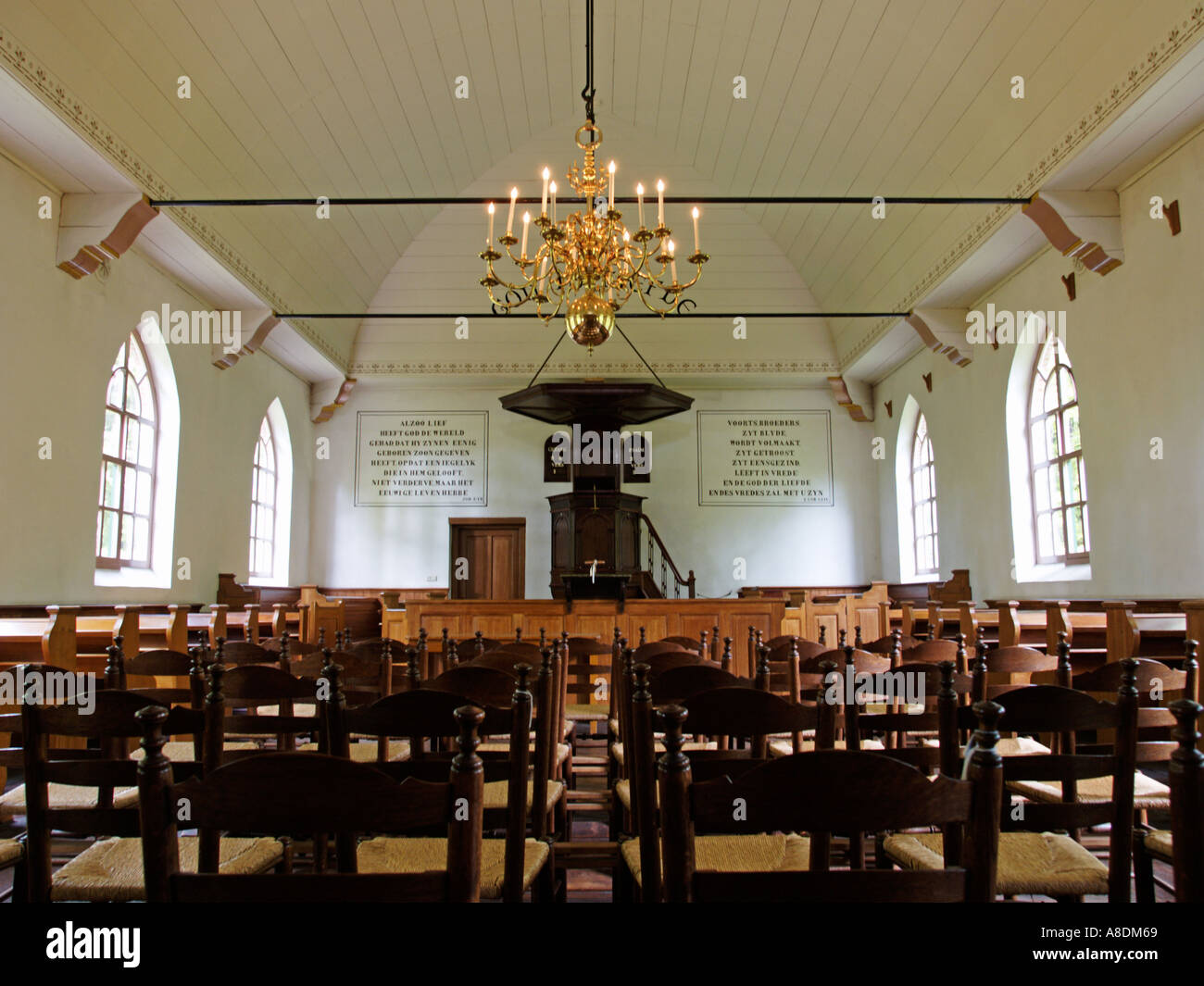 Interior of a small sober historic protestant church building with ...