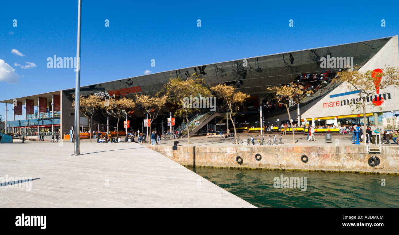 Barcelona the Mare Magnum shopping mall in the Port Vell harbour development Stock Photo