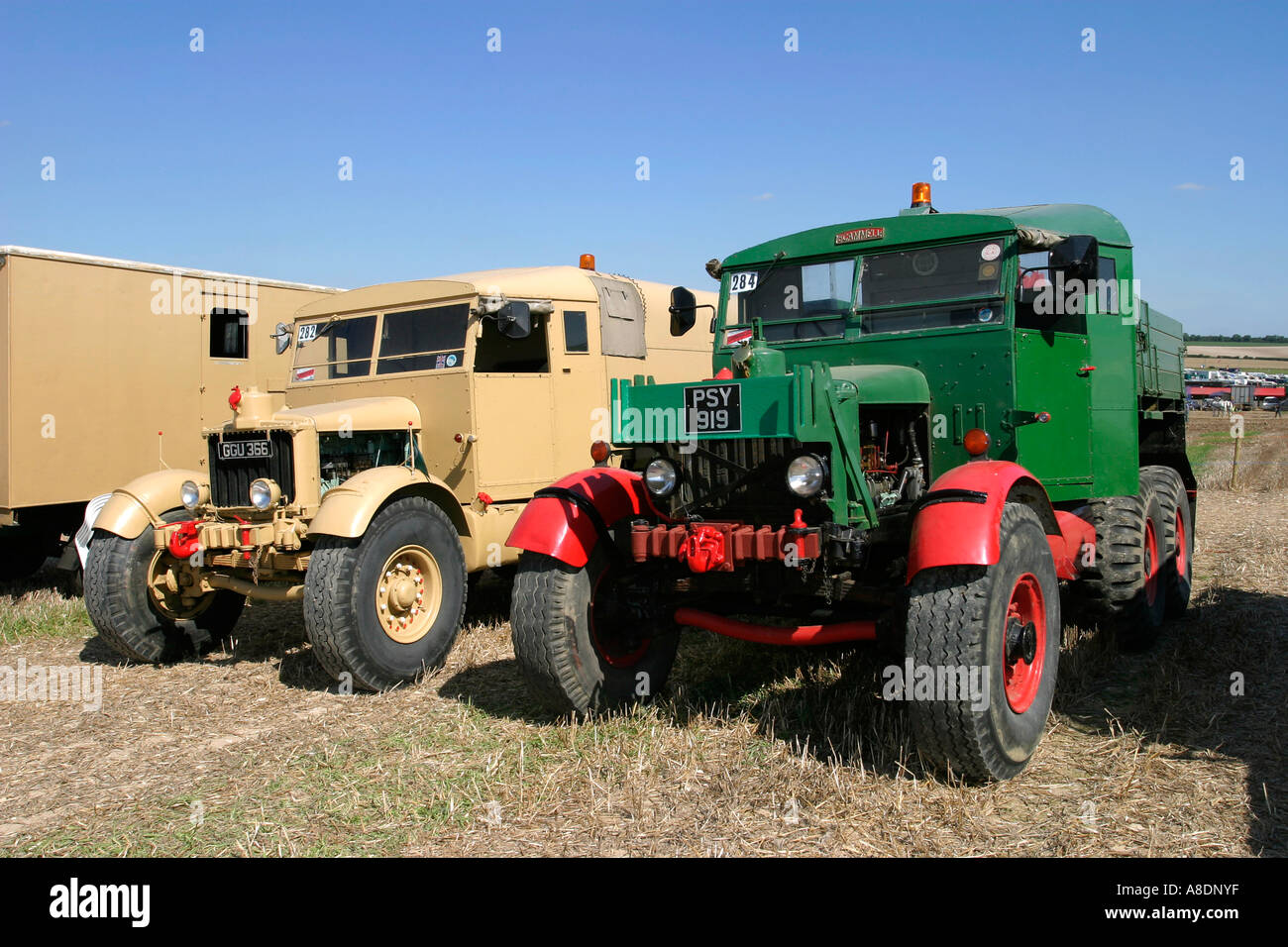 GGU366 1941 Scammell R100 Heavy Artillery Tractor and PSY919 1945 Scammell SC/2s display at the Dorset Steam Fair, England, UK. - Stock Image