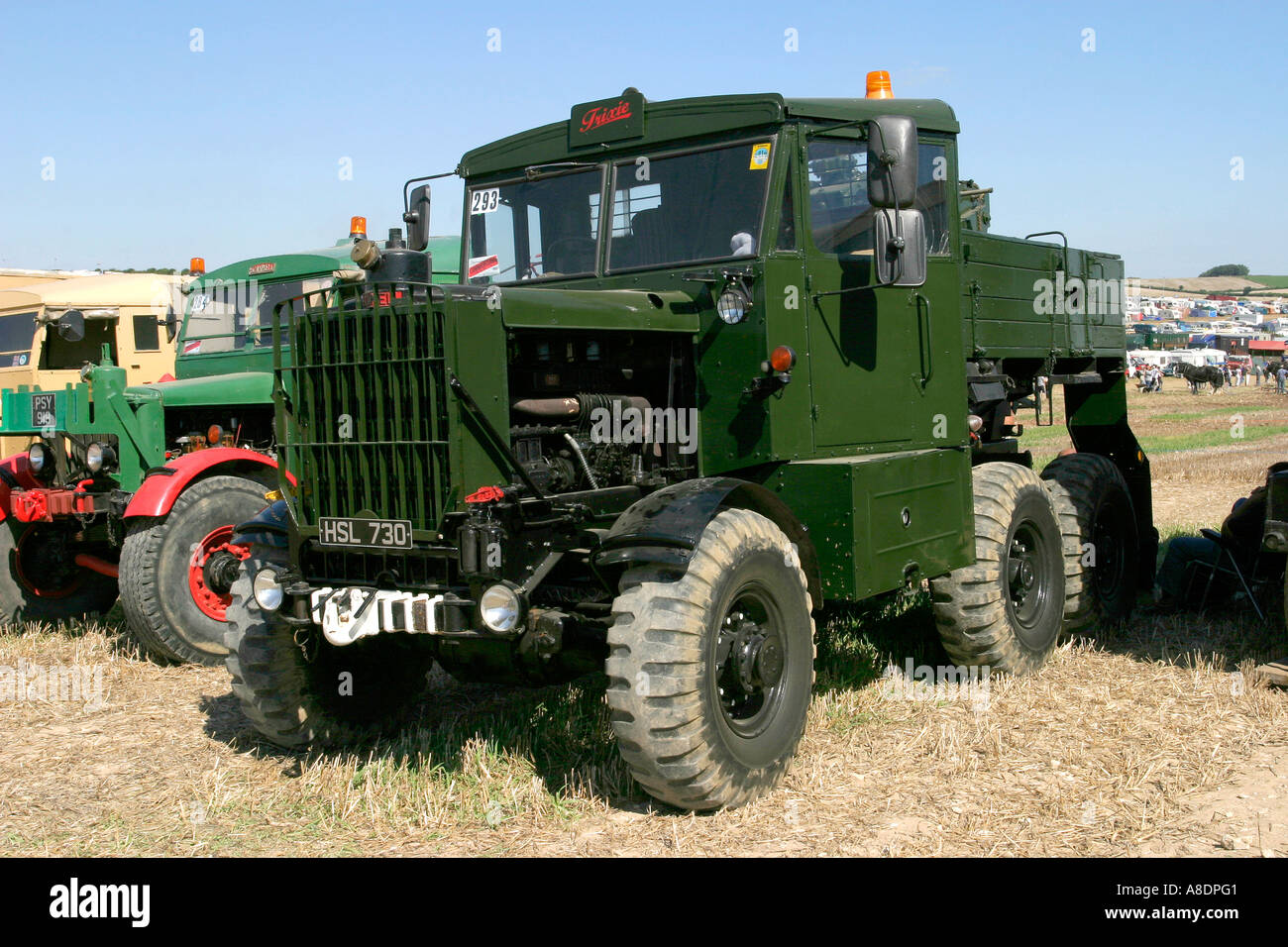 1952 Scammell Explorer in military paintwork at the Dorset Steam Fair, England, UK. - Stock Image