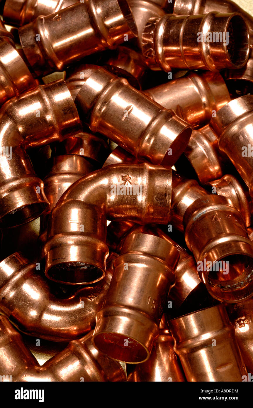Copper pipe solder fittings - Stock Image