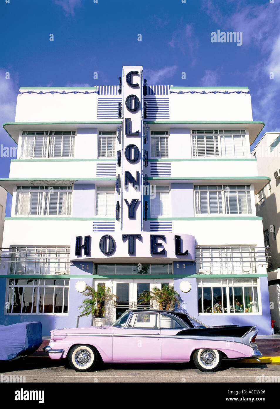 Art deco district Colony Hotel, Ocean Drive Miami Florida USA - Stock Image
