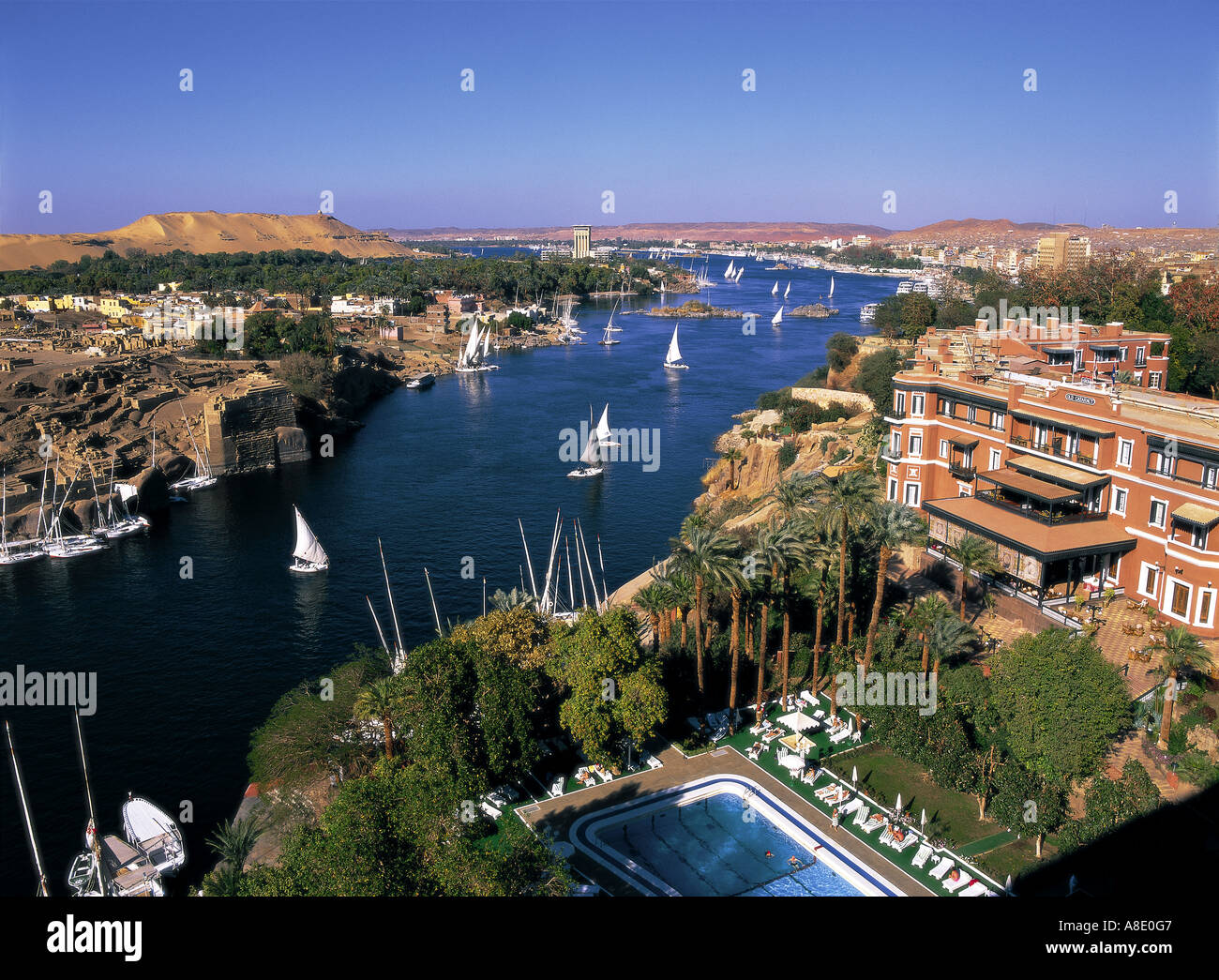 Nile River And Old Cataract Hotel Aswan Egypt Stock Photo