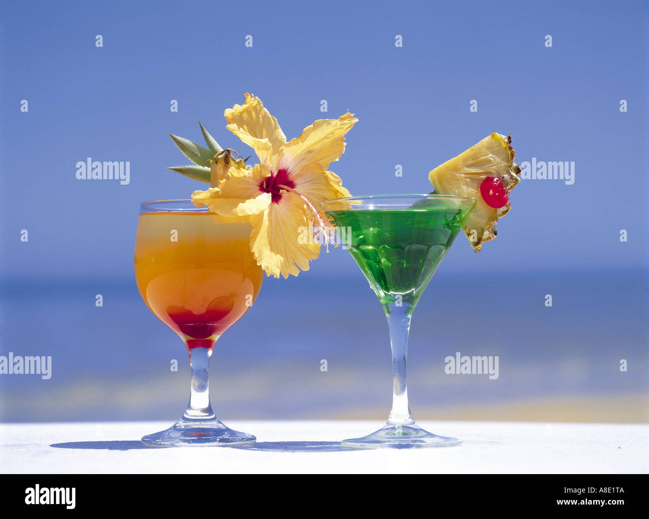 Tropical Drinks By Beach, Fiji Islands Stock Photo